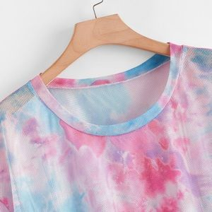 Tie Dye Short Sleeve Cover Up